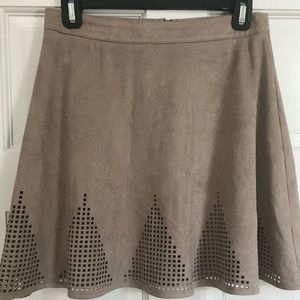Suede skater skirt with cutouts